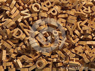 Chaotic wooden letters background