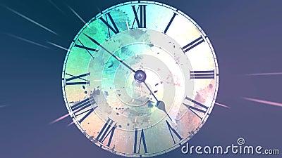 Chaotische bewegliche Uhr Unendlich sich schnell bewegende Uhr Das Konzept der verbiegenden Zeit und des Raumes Grunge Borduhr vektor abbildung