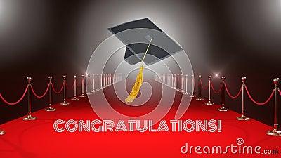 Chapéu da graduação no vídeo do tapete vermelho vídeos de arquivo