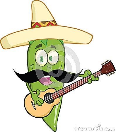 Chapéu mexicano verde e bigode de Chili Pepper Cartoon Character With que jogam uma guitarra