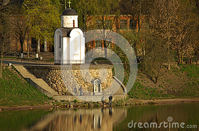 Chapel on the bank of the river Velikaya