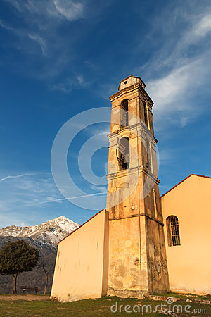 Chapel and bell tower near Pioggiola in Corsica