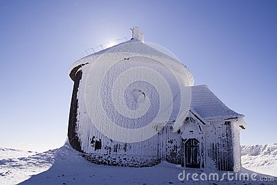 Chapel during blizzard