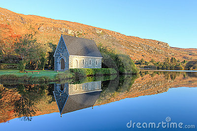 Chapel in Gougane Barra at sunrise in Ireland.