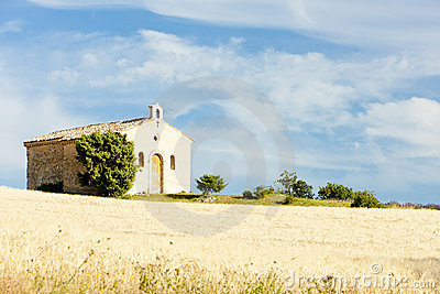 Chapel with grain field, Provence