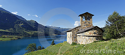 Chapel and lake panoramic
