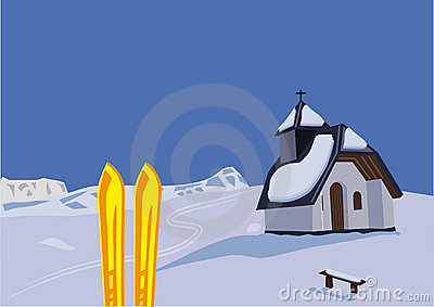 Chapel and skis