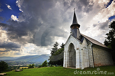 Chapel under stormy skies