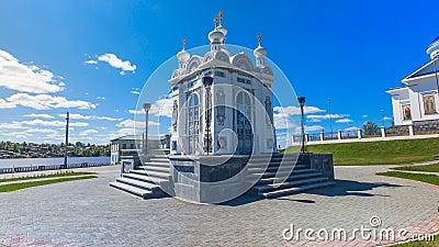 Chapelle comm?morative d'Alexander Nevsky R?gion de Perm Dobryanka Timelapse banque de vidéos