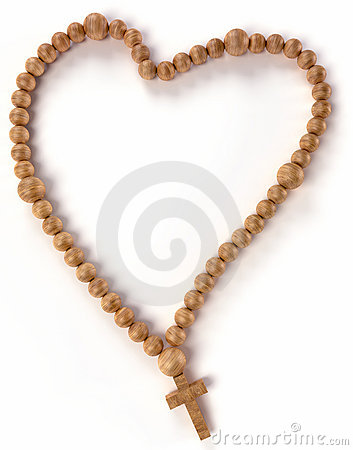 Chaplet or rosary beads heart shape