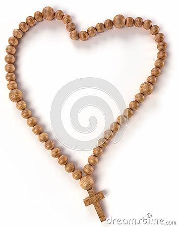 Chaplet or rosary beads heart shape