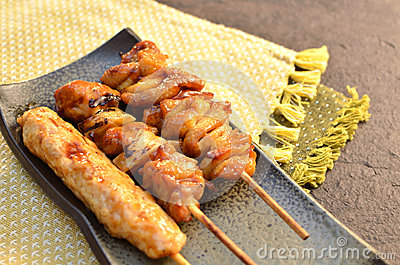 Char-broiled chicken called yakitori.