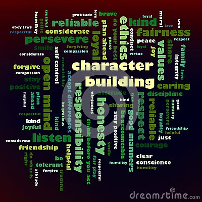 Character Building word cloud Cartoon Illustration