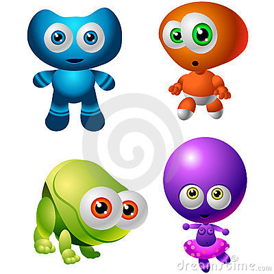 Free Character Design Collection 014: Baby Aliens Royalty Free Stock Photos - 329798