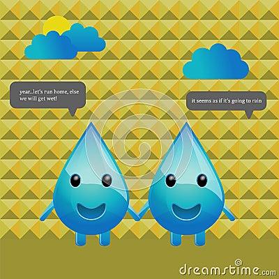 Character design water drops conversation