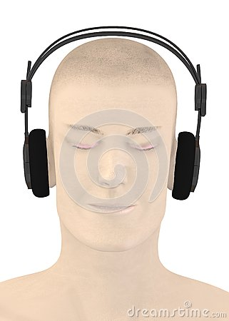 Character with headphones - music listening