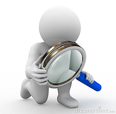 Character And Magnifying Glass Stock Image - Image: 16015531