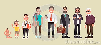 Character of a man in different ages. A baby, a child, a teenager, an adult, an elderly person. The life cycle Cartoon Illustration