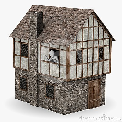 Character in medieval building waving hand