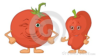 Character tomato and pepper