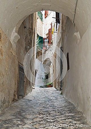 Characteristic alley of Polignano. Apulia.