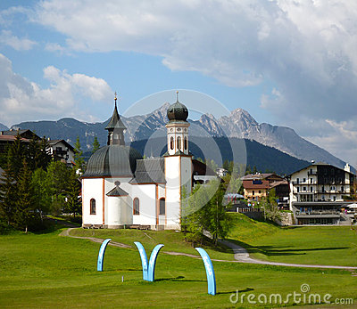 Characteristic church in Seefeld, Austria