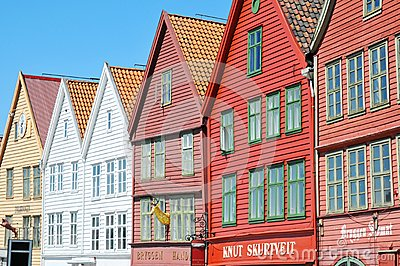 Characteristic wooden houses in Bergen Editorial Photo