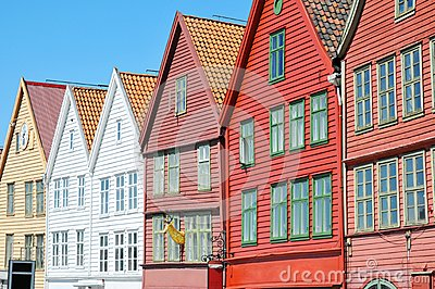 Characteristic wooden houses in Bergen