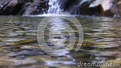 Charca del claro de la cámara lenta con la cascada en el fondo almacen de video