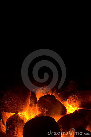 Charcoal fire for barbeque