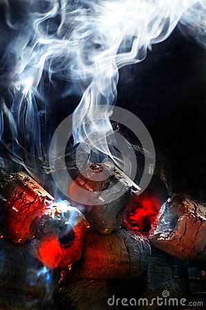 Free Charcoal Fire With White Smoke Royalty Free Stock Images - 37934539