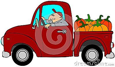 Chargement de camion de potirons