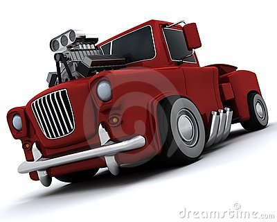 Charicature of supercharged 50 s classic pickup