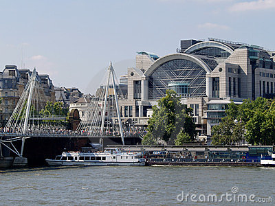 Charing Cross Station and the Thames, London Editorial Image