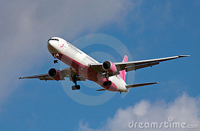 Charitable airline landing Editorial Stock Photo