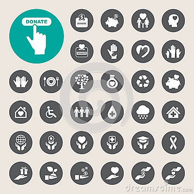 Free Charity And Donation Icons Set Royalty Free Stock Images - 55027409