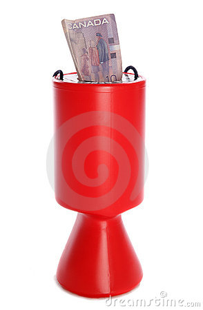 Charity collection with canadian dollar