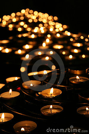 Free Charity. Praying Candles In A Temple. Stock Photos - 4891843