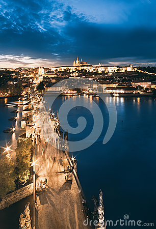 Free Charles Bridge And St.Vitus Cathedral, Evening View Stock Photography - 45893062