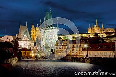 Charles Bridge & Hradcany, Prague, by night