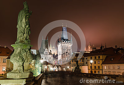 Charles Bridge, night scene in Prague
