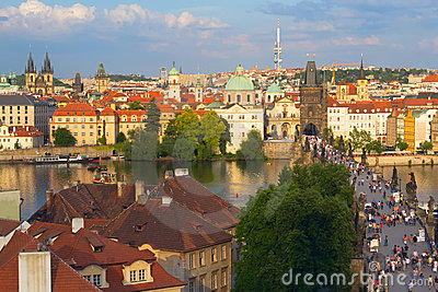 Charles Bridge in Prague Editorial Photo