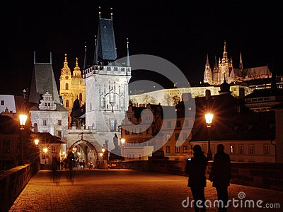 Charles Bridge in Prague with Castle in the Night