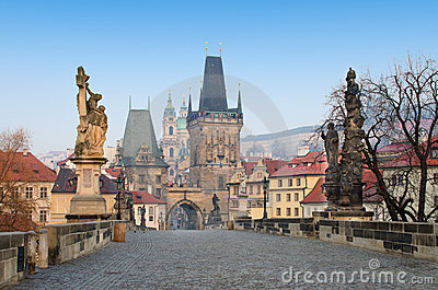 Charles Bridge sunrise view, Prague