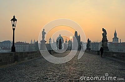 Charles Bridge sunrise view, Prague