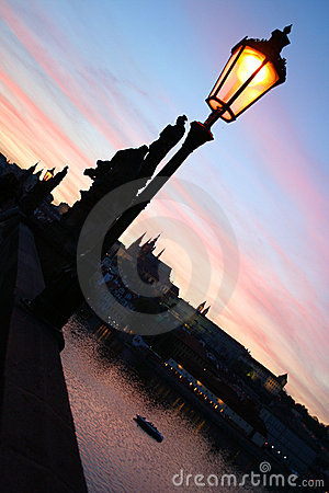 Charles bridge at the vivid sunset