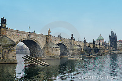 Charles Bridge,Vltava river bank look,Prague