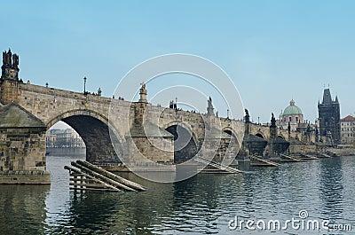 Charles Bridge,Vltava river bank look,Prague