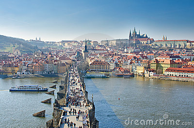 Charles bridge,Vltava river,Prague castle,Prague