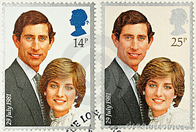 Charles and Diana Royal Wedding Stamps Editorial Photography